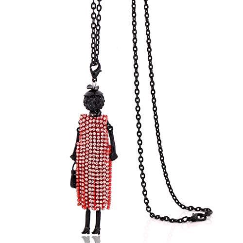 WDBUN Collar Colgante Collares de Cristal de Moda para Mujeres encantos Collares de muñecas de Diamantes de imitación Colgantes gargantillas de borlas largas Navidad Día de San Valentín Regalo