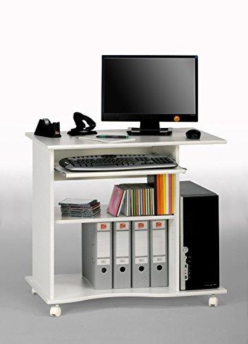 Lyndan–Beaufort bianco Compact computer da scrivania per casa e ufficio mobili studio workstation portatile per PC desktop e laptop con ripiano scorrevole per tastiera e spazio aperto per tower, stampante e documenti