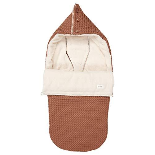Koeka - Kinderwagen Fußsack - Universal Baby Fußsack - Buggy Schalfsack - Oslo - Mit Kapuze - Mit Teddy Gefüttert - Für 3/5 Punktgurt - Abwaschbar - Rehbraun/Kiesel - Einheitsgröße
