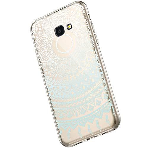 Saceebe Compatible avec Samsung Galaxy J4 Plus 2018 Coque Fleur Mandala Clair Design Motif Silicone Transparent TPU Souple Housse de Protection Ultra Mince Slim Léger Antichoc Étui,Blanc Bleu
