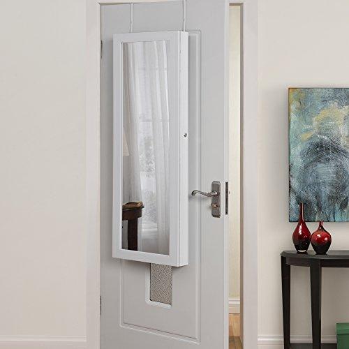 Inspirado Home Julie Perchero para Puerta de Longitud Completa/Joyero de Pared Espejo de Maquillaje Organizador de Almacenamiento Lavabo con Mueble de baño, Color Blanco