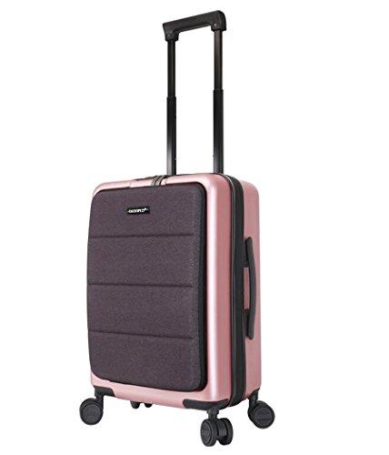 PINCHU Trolley Laptop Bag Business Wheeled Cabin borsa da computer classificato valigetta Carry on Roller Cases, rosa, 20 inch