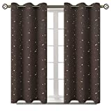 BGment Kids Blackout Curtains for Bedroom - Grommet Thermal Insulated Silver Star Print Room Darkening Curtains for Living Room, Set of 2 Panels (38 x 45 Inch, Brown)