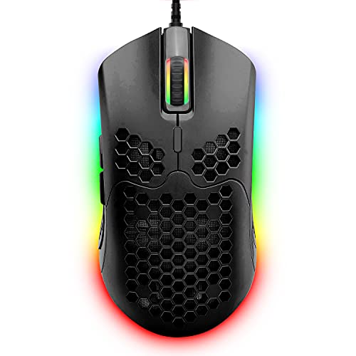 Wired Lightweight Gaming Mouse,6 RGB Backlit Mouse with 7 Buttons Programmable Driver,6400DPI Computer Mouse,Ultralight Honeycomb Shell Ultraweave Cable Compatible with PC Gamers,Xbox,PS4 (Black)
