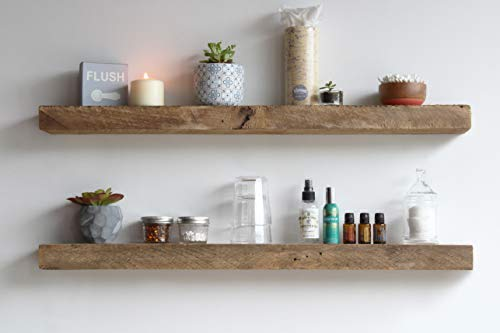 Urban Legacy Reclaimed Barnwood Floating Shelves - Set of 2 - Amish Made in Lancaster County, PA (Natural, 36