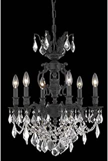 Elegant Lighting Marseille Collection 6-Light Hanging Fixture with Royal Cut Crystal, Dark Bronze Finish