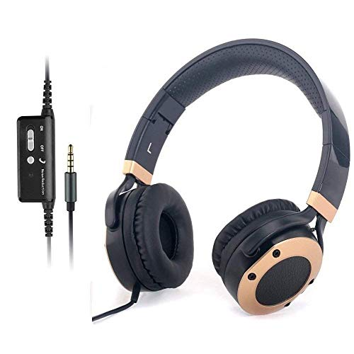 Active Noise Cancelling Headphones with Microphone and Airplane Adapter, Folding and Lightweight Travel Headsets, Hi-Fi Deep Bass Wired Headphones with Carrying Case (Renewed)