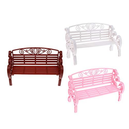 sharprepublic Dollhouse Park Bench Garden Im Doppelmaßstab Im Maßstab 1: 6 Geben Sie Spielzubehör vor - rosa weißes Holz, Wie Beschreibung