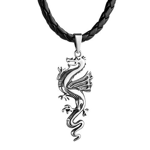 STERLL - Collar de cuero negro con colgante de dragón, bolsa para joyas, regalo