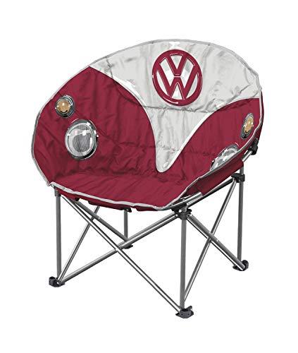 Board Masters Volkswagen Moonchair Campingstuhl, VW-Bulli wattierter Camping-Klappstuhl und Klappsessel, VW-Geschenke, Rot
