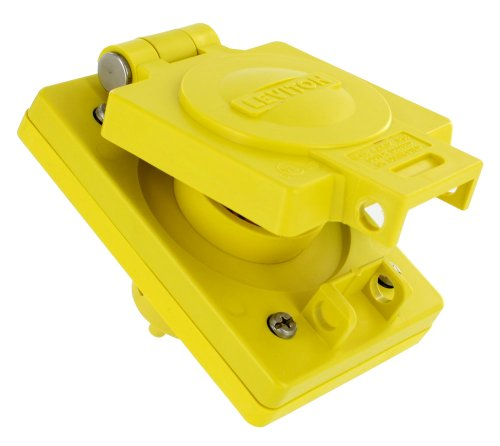 Leviton 6449IP66, korrosionsbeständig, Verriegeln, 15A, 250V, 2p, 3W, Erdung, wetguard Single Einlass, gelb