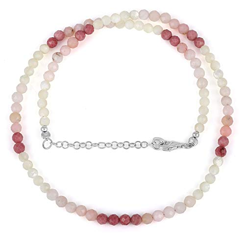 Natural Mother Pearl, Rhodonite & Pink Opal faceted Round Bead Gemstone Necklace with 925 Sterling Siver Chain for Women. Gift for Her, Christmas, Birthday, Aniversary, New Year - 48 Cm