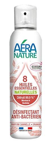 AERA NATURE: Desodorante, desinfectante antibacteriano, 125ml, 8 aceites esenciales naturales - Naranja - Canela