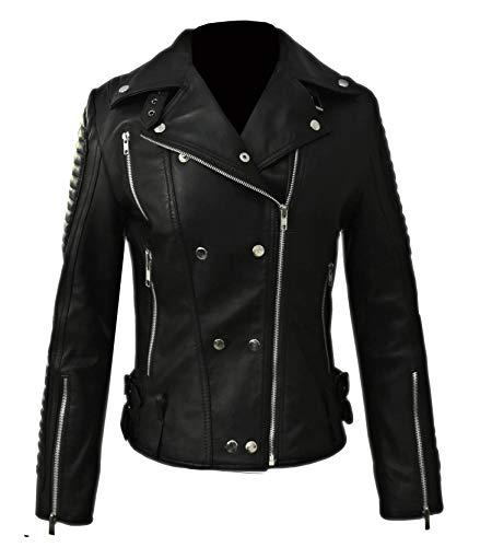 Schwarze Lederjacke Damen - Bikerjacke Damen Motorradjacke Damen Lederjacken (S)
