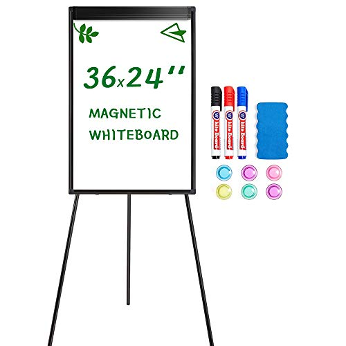 Yaheetech Magnetic Tripod Whiteboard Portable Dry Erase Board 36x24 inches Flipchart Easel Board Height Adjustable, Stand White Board w/Flipchart Pad, Magnets & Eraser