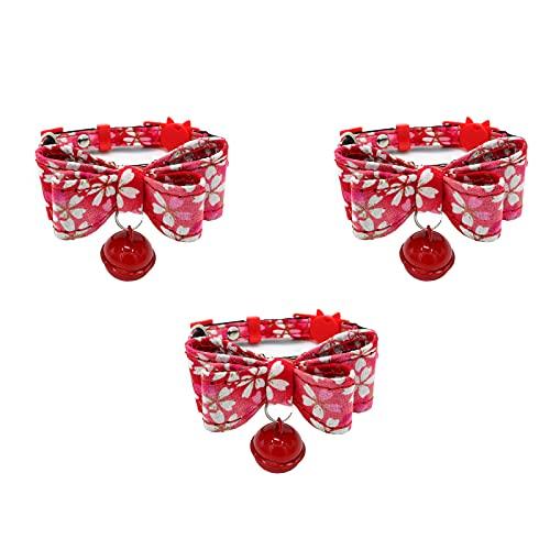 Anjing 3 piezas collar de gato campana collar 1 seguro liberación rápida microfibra roja M rango ajustable 22-35cm ancho 1.1cm
