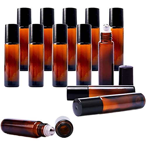 Roll On Glasflaschen Zum Befüllen, Leere Glas Flaschen Edelstahl Kugel, 20 x Ätherisches Öl Flaschen 10ml Leer Kleine Fläschchen, mit 5 Trichter, 2 Spritze und 1 Aufkleber - Braune