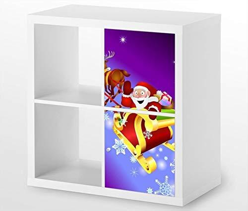 Möbelaufkleber für Ikea KALLAX / 2x Türelemente vertikal Schlitten Kinderzimmer Renntier Kat2 Weihna Aufkleber Möbelfolie Tür sticker (Ohne Möbel) 25G383, 2x Türelemente:2xTürelemente