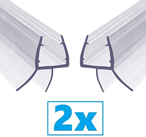 Guarnizione Doccia Sottoporta - 2pcs 100cm Guarnizioni Box Doccia Guarnizione Porta Trasparente per Vetri di Spessore 6mm / 7mm / 8mm guarnizioni box doccia Filo Pavimento Senza Colla