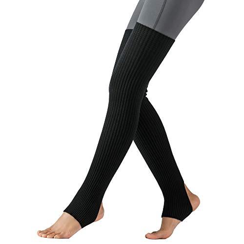 WINGTECH Women's Thick Knit Long Thigh High Leg Warmers,Yoga Ballet Dance.(Black)