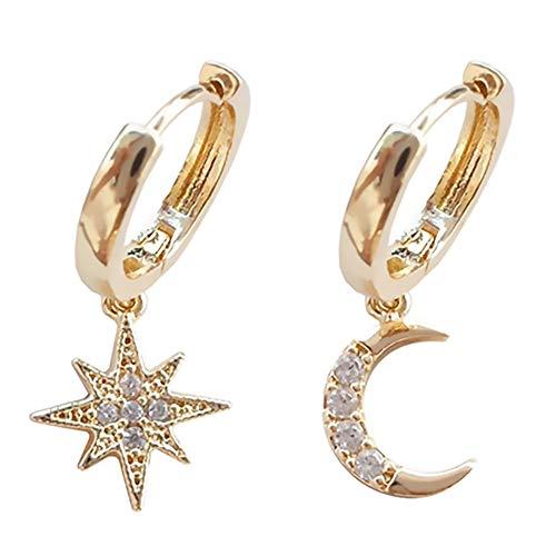 kinnter Baumeln Ohrringe 1 Paar Lange Sonne Mond Sterne Geometrische Böhme Ohrringe Ohrstecker Baumeln Ohrringe für Ihre Freundin Ehefrau