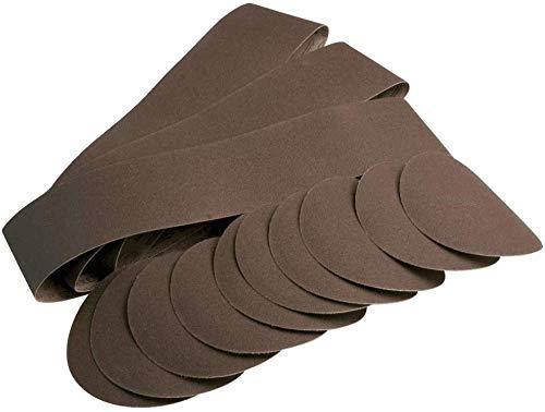 Scheppach 7903302601 Zubehör für Schleifgerät Schleifpapierset 12-teilig, passend für den Band-und Tellerschleifer BTS800, 9 Schleifpapier, 3 Schleifband