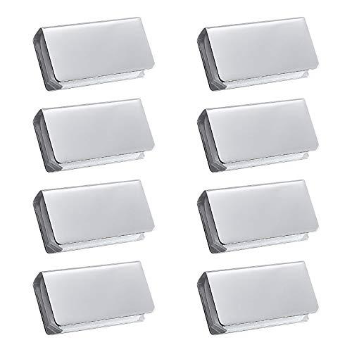 UFURMATE Abrazadera magnética, 8 piezas ajustables sin marco placas de golpe magnéticas rectangulares de metal pinzas de cierre de plata, piezas de repuesto de pestillo de gabinete de vidrio