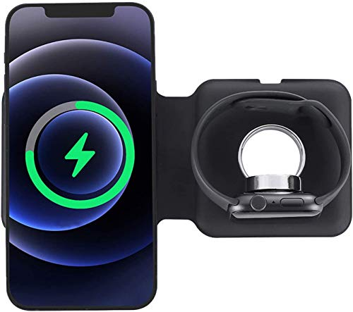 Convient pour iPhone 12 / Pro/Pro Max/Mini chargeur de type pliable 2 en 1, convient pour chargeur sans fil MagSafe double chargeur magnétique pliable, chargeur DUO