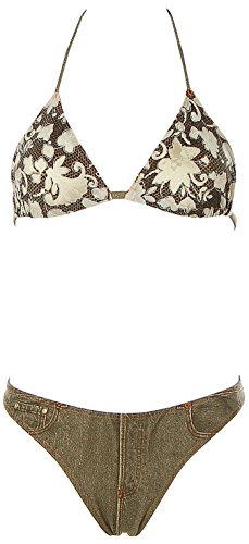 Rasurel Damen Triangel Bikini Stringtanga Blumen Beachwear Grün 36