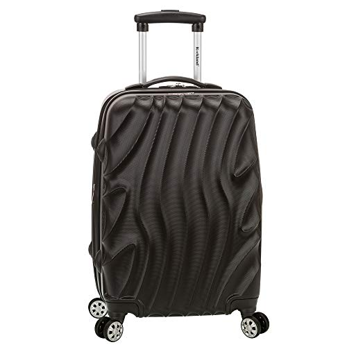 Rockland Melbourne Hardside Expandable Spinner Wheel Luggage, Black Wave, Carry-On 20-Inch