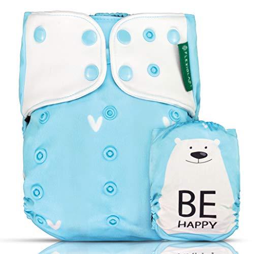FLEXIGLAST - Pannolini Lavabili in Tessuto Fibra Di Caffè Ecologici Green Impermeabili Riutilizzabili Super Assorbenti Regolabili Ai2 Pocket Inserti Neonati Bambini Washable Set Completo Cover