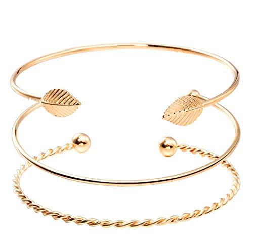 onedayday Mode Open Leaf Cuff Armband Armreifen für Frauen Einfache Goldfarbe Handgelenk Armband Damen Charma Armband 3Pcs / Set Geschenk