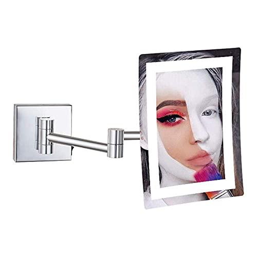 NHLBD LIHAIHAI Beautiful Fashion Espejos de Maquillaje, vanidad montada en la Pared de un Solo Lado de latón Iluminado 3X de Afeitado de Lupa con Enchufe de Interruptor Cromo