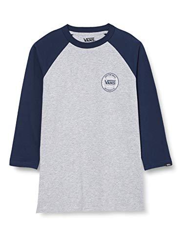 Vans Jungen Authentic Checker Raglan Boys T-Shirt, Athletic Heather-Dress Blues, L