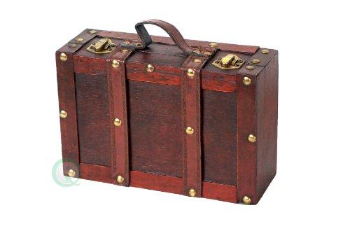 Vintiquewise - Maletín con correas, estilo envejecido, tamaño pequeño, color cerezo envejecido