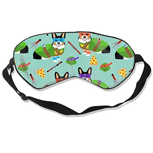 Tri Corgi Ninja Turtle Dog, Honden, Cartoon, Kostuum Zijde Slaap Masker Comfortabele Blindfold Oogmasker Verstelbaar voor Mannen, Vrouwen of Kinderen