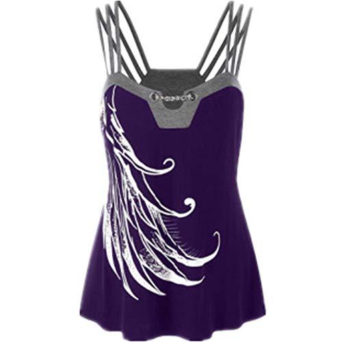 Canotta Donna Top Donna Estiva Moda Stampa Canotta Nuova Tendenza Moda Selvaggio Confortevole Classico Shirt da Donna Sexy Allentato Top Moda A-Purple 4XL