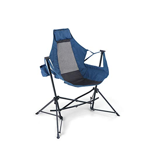 ALPHA CAMP Hammock Camping Chair Folding Rocking Chair with Cup Drink Holder Steel Heavy Duty Portable Chair with High Back Outdoor Oversized Chair for Lawn,Backyard,Picnic,Capacity-350lbs