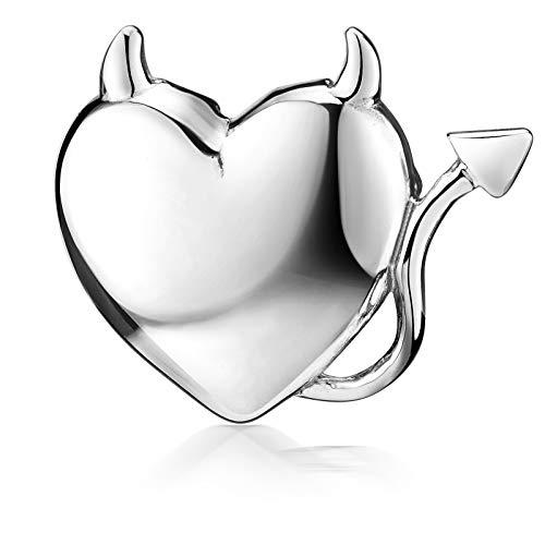 MATERIA 925 Silber Kettenanhänger Herz Teufelsherz DIAVOLO - Anhänger Herz mit Teufelshörnern 18x15mm #KA-15