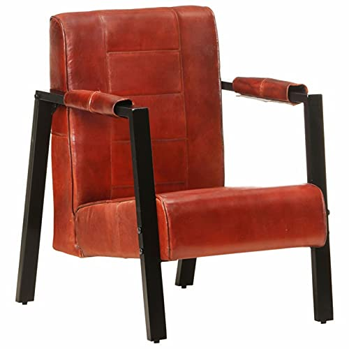 Festnjght Sillon Relax, Sillon orejero de Cuero de Cabra Real, Butaca para Dormitorio Salon, Marrón Oscuro 60x75x90 cm