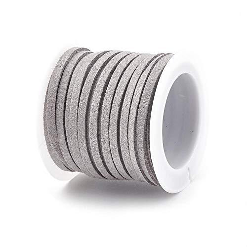 1 Rolle, Faux Wildleder Schnur 5m Lange, 4mm und 5mm Breite, für DIY Schmuckherstellung, Mikrofaser Flache Spitze Kunsthandwerk Cordage für Armband Halskette Perlenschnur (Grau, 5mm)