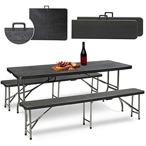 Sekey Set 3 pezzi tavolo da birreria, Set tavolo da picnic pieghevole con panche, Tavolo e panche da giardino portatili con piano in legno e lati in rattan, Da interno ed esterno, 181x75,5x73 cm, Nero