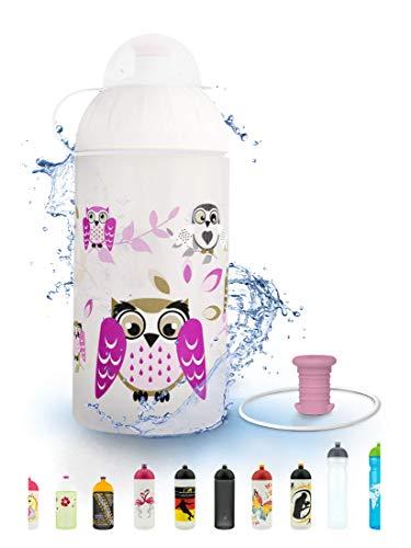 FreeWater Trinkflasche, 500 ml, Eule: schadstofffrei, spülmaschinengeeignet, auslaufsicher, langlebig