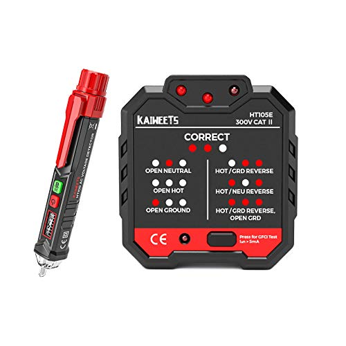 KAIWEETS Non-Contact Voltage Tester & Electrical Outlet Tester/GFCI Tester, Dual Check 2-in-1 Electrical Test Kit, 360° Visual & Audible Indicators, 12V-1000V/48V-1000V Dual Range