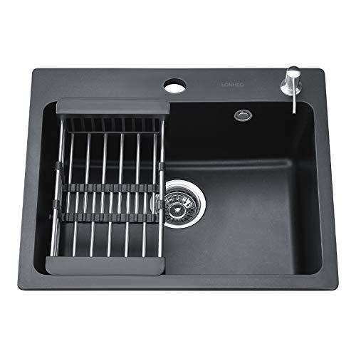 Lonheo Granitspüle schwarz 58*48.5 cm eckige Spülbecken inklusive Seifenspender+Abtropfgestell + Siphon, Küchenspüle ab 70er Unterschrank spüle aus Granit
