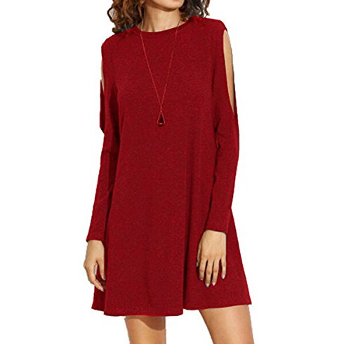 Women Cotton Long Sleeve Cold Shoulder Lightweight Tunic Casual Short Dress (US 8, Wine Red)