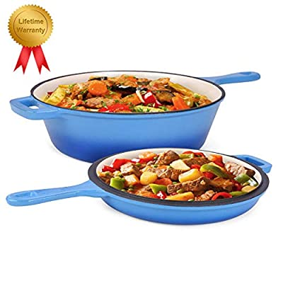Enameled 2-In-1 Cast Iron Multi-Cooker – Heavy Duty 3.2 Quart Skillet and Lid Set, Versatile Healthy Design, Non-Stick Kitchen Cookware, Use As Dutch Oven Frying Pan (Blue)