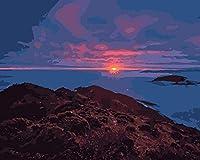 大人と子供のためのDIY5Dダイヤモンドペインティングキット美しい日の出フルドリルモザイクラウンド刺繡クロスステッチキットギフト-40x50cm