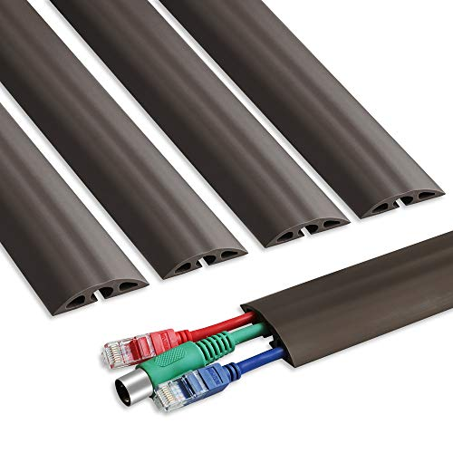 Floor Cable Cover - 15.6in x 5 Durable Cord Cover for Floor, Total 6.5ft Cord Protector - Low Profile PVC Duct - Flexible 3 Channel Wire Cover for Office Home Doorway, W2in H0.5in, Dark Brown