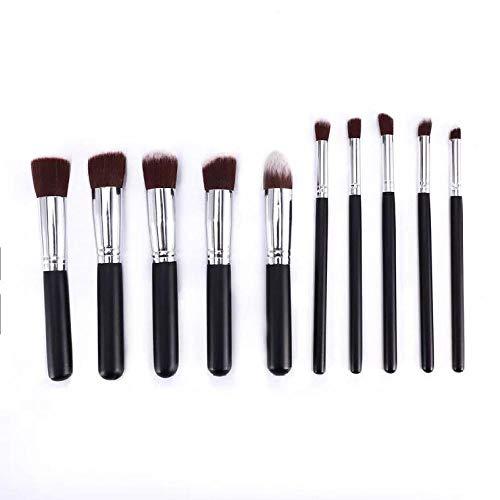 Outils de beauté multifonctionnels portables 10 pinceaux de maquillage débutants fondation pinceau mis en ombre à paupières brosse douce poudre en vrac brosse de réparation capacité brosse noir argent
